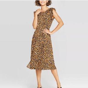 Who What Wear Leopard Ruffle Midi ALine Dress XL